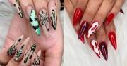 halloween stiletto nail art ideas