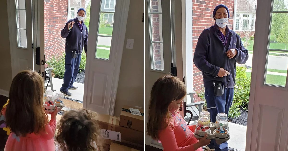 This FedEx Driver Surprised a Kid With Cupcakes When She Celebrated Her Birthday at Home