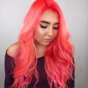 neon peach hair color trend popsugar