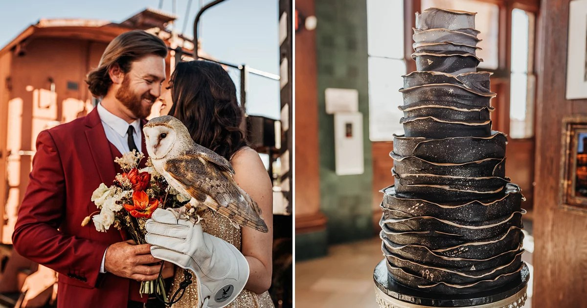 This Enchanting Harry Potter-Inspired Wedding Features Butterbeer and a Real-Life Hedwig!