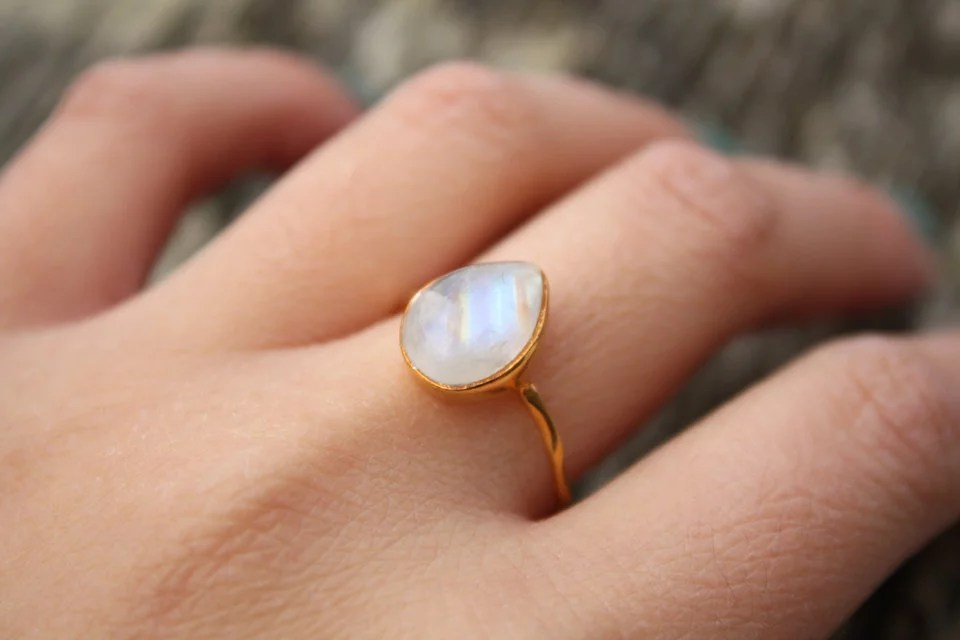 White Moonstone Ring 55 Engagement Rings Under 100