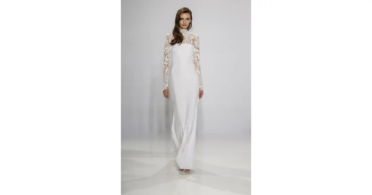 Long-sleeved Lace Column Gown.