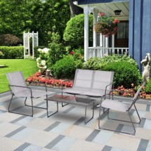 gymax 4pieces furniture set outdoor
