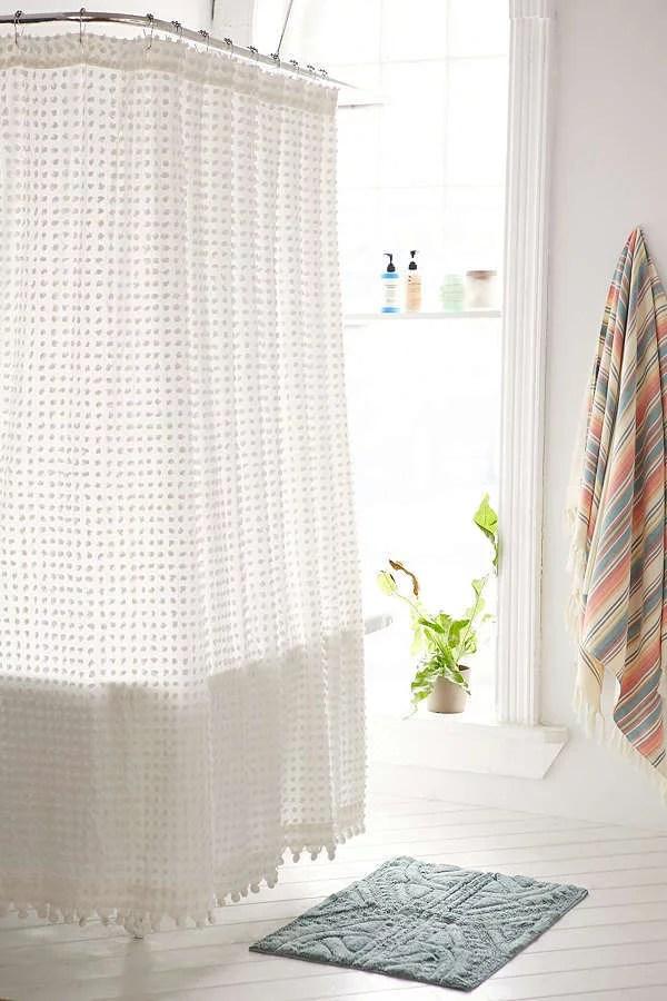 plum bow pompom shower curtain 15