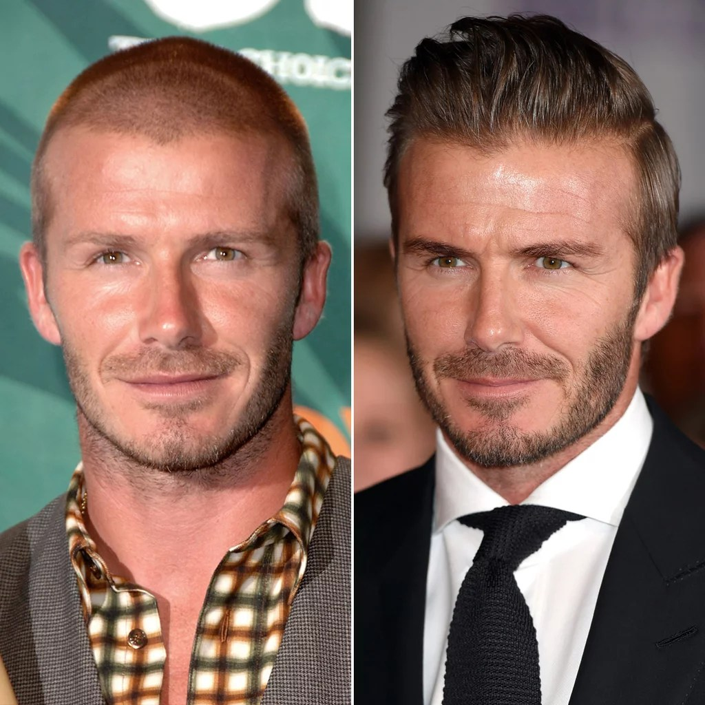 David Beckham Male Celebrities With Hair Vs Shaved