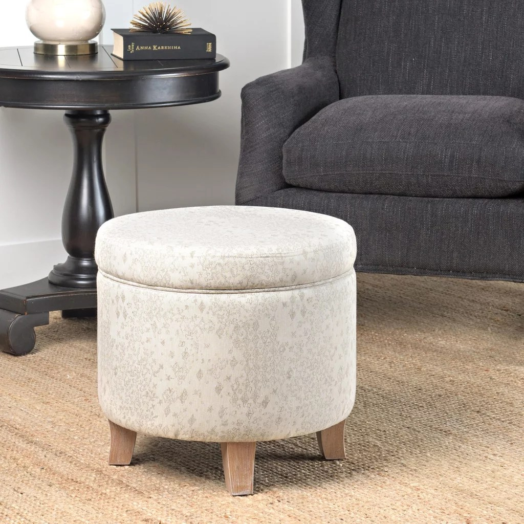 linen round storage ottoman out with