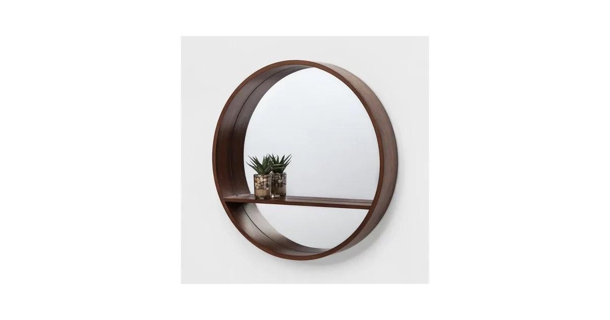 """24"""" Walnut Round Barrel Decorative Wall Mirror With Shelf"""