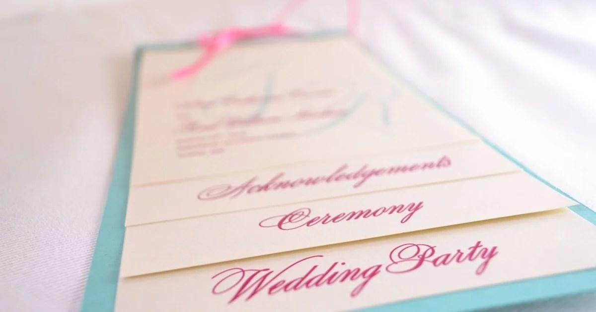 Pink And Blue Wedding Program Free Printable Wedding Program Templates POPSUGAR Smart Living