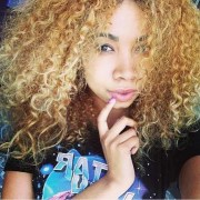 girl's curly blond hair