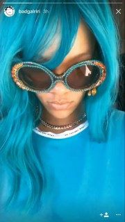 rihanna blue hair august 2017