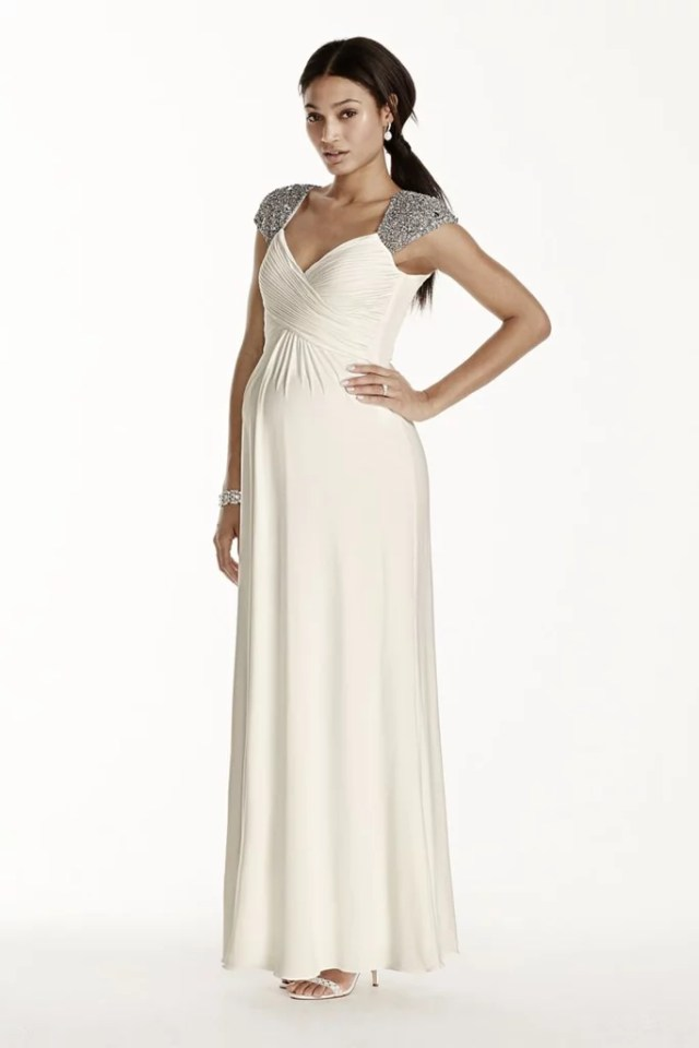 David's Bridal Beaded Cap Sleeve Dress