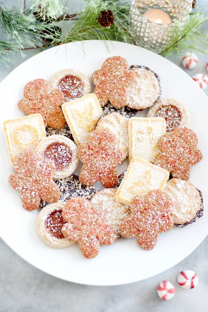 Holiday Cookies Dusted With Powdered Sugar