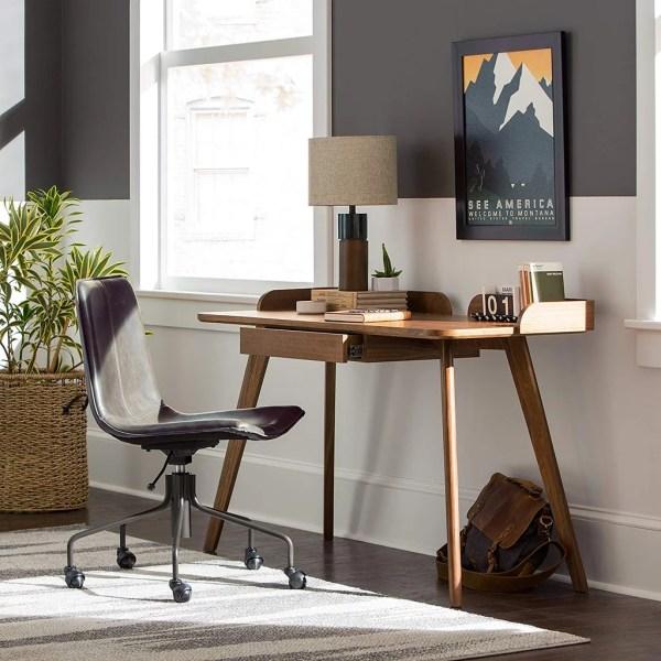 Rivet Mid-century Curved Wood Home Office Computer Desk Furniture 2019 Popsugar