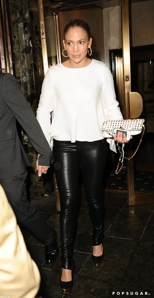 Jennifer Lopez wore leather pants to dinner with Casper