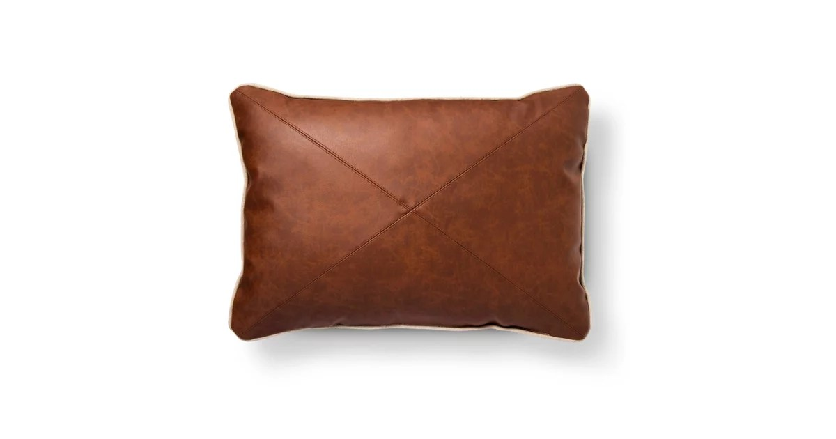 Brown Faux Leather Oblong Throw Pillow 25  Target