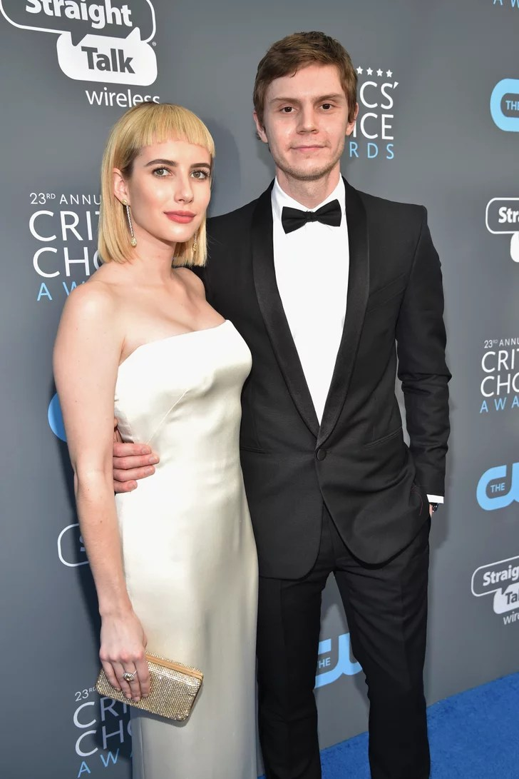 Evan Peters and Emma Roberts at 2018 Critics Choice Awards  POPSUGAR Celebrity UK Photo 3