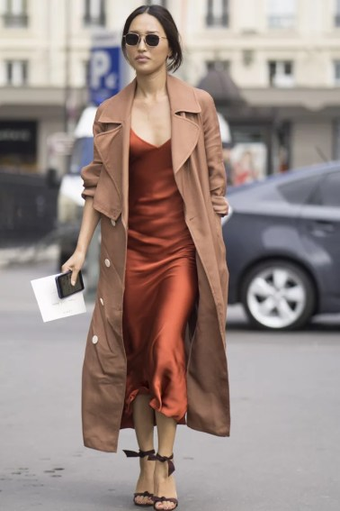 With a trench coat is cute ways to wear slip dresses!
