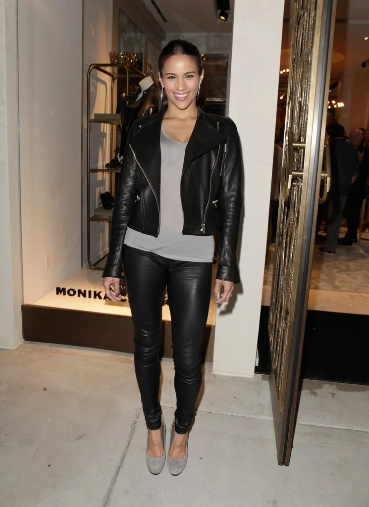 Leather Paula Patton Celebrities In Leather Jackets