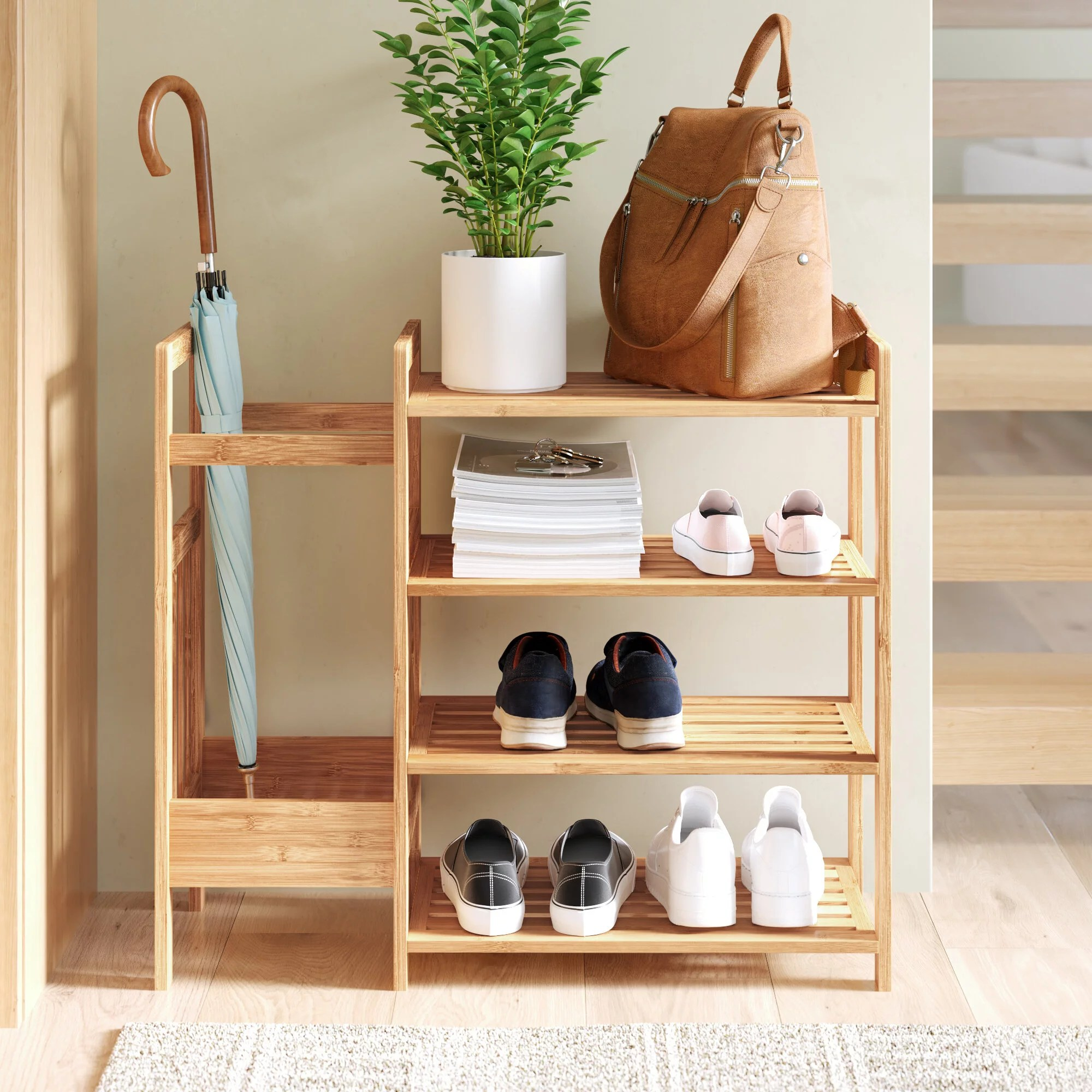 Bamboo Entryway 8 Pair Shoe Rack Your Home Will Feel Double The Size Thanks To These 28 Stylish Storage Solutions Popsugar Home Photo 13