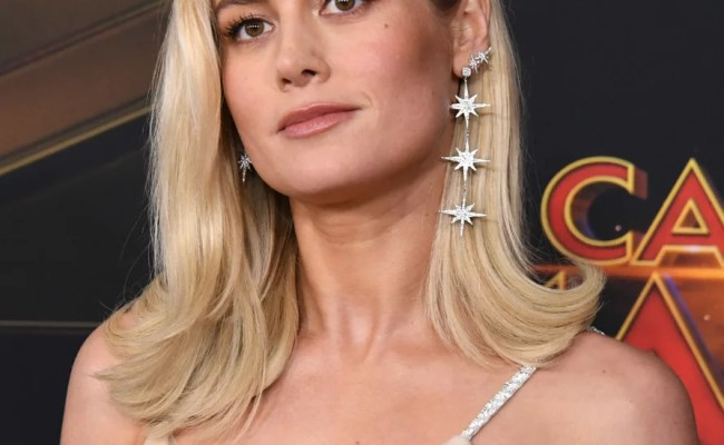 Brie Larson Gold Gown At Captain Marvel Premiere