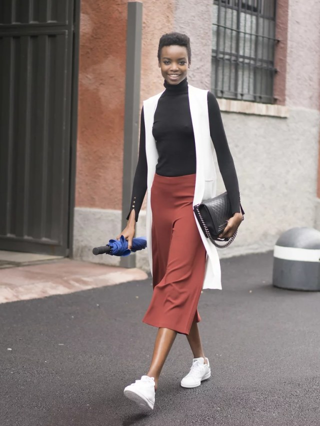 Silky Culottes and a Long Vest to Top Them Off