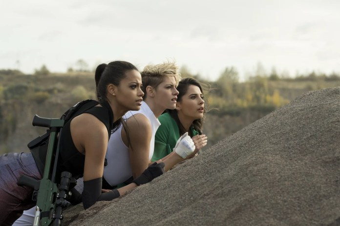 Ella Balinska, Kristen Stewart and Naomi Scott star in Charlie's Angels.