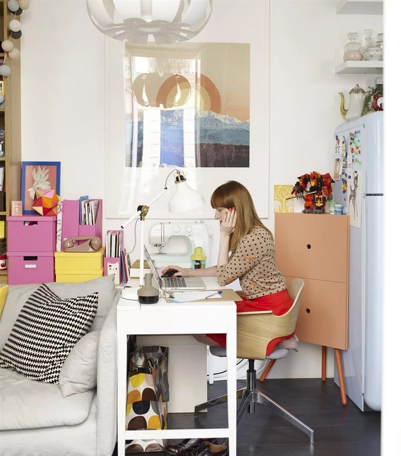 Smallspace office solutions from Ikea like the corner cabinet keep  Tiny IkeaInspired