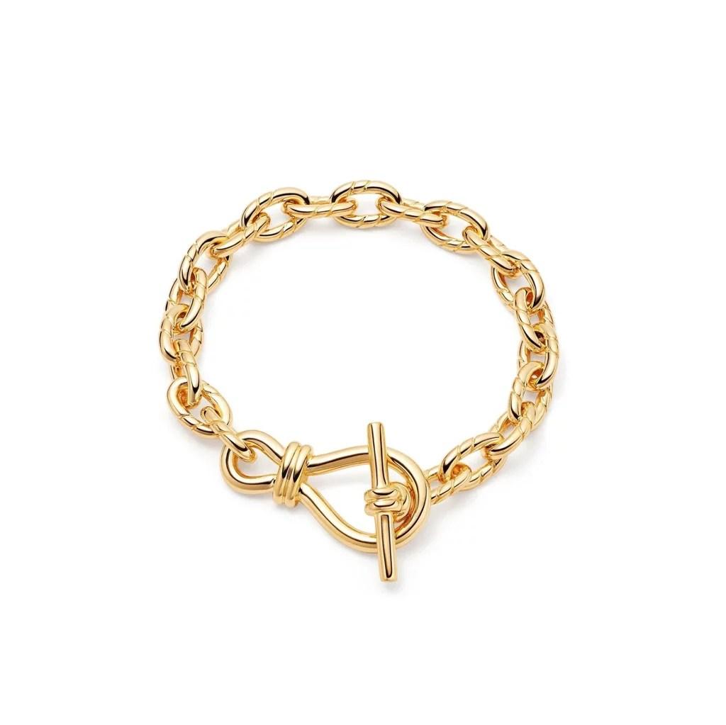 Missoma Gold Twisted Link T-Bar Chain Bracelet