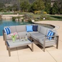 San Lucas Aluminum Sofa Set With Khaki Cushions & Glass