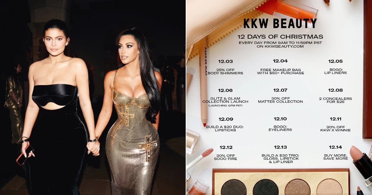 All the details on Kylie Cosmetics and KKW Beauty's whirlwind 12 Days of Christmas
