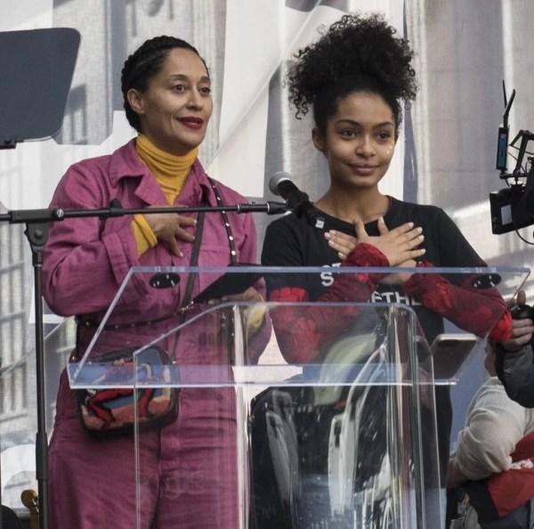 Tracee Ellis Ross And Yara Shahidi Celebrities Women' Marches January