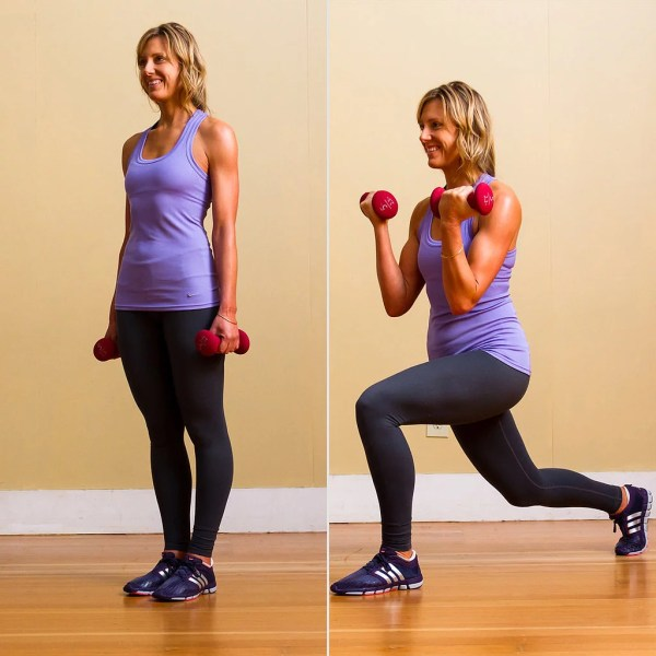 Circuit Two Reverse Lunge With Bicep Curls Full Body