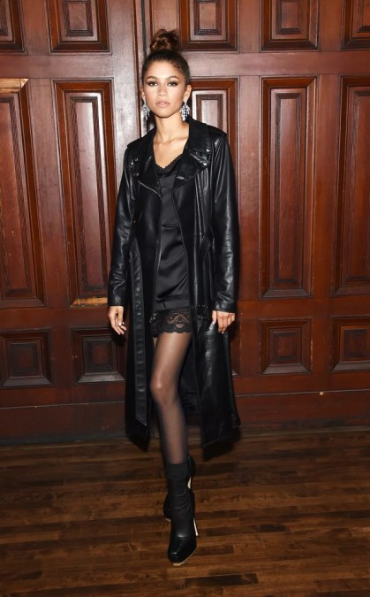 Zendaya Black dress with long black leather trench coat