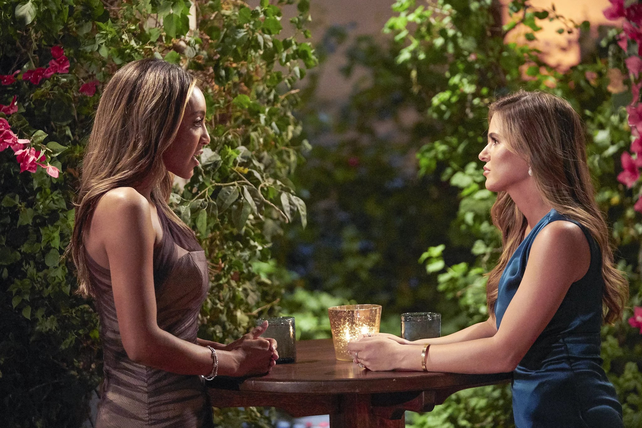 THE BACHELORETTE - 1609  The drama rages on as Bennett and Noah continue to confront one another on the impromptu two-on-one date. JoJo ups the ante by explaining to the men that a rose this week will be their ticket to a hometown date and an opportunity to introduce Tayshia to their families. One mans one-on-one date starts as a fun scavenger hunt but evolves into a more serious discussion when he shares a deeply emotional secret with the Bachelorette that he hasnt revealed to anyone else. Honesty is at the top of Tayshias list for a soul mate, and she puts five men through a high-pressure lie detector date. After all the confessions, there is one more shocking surprise at the end of the night that might turn her journey upside down on The Bachelorette, TUESDAY, DEC. 8 (8:00-10:01 p.m. EST), on ABC. (ABC/Craig Sjodin)TAYSHIA ADAMS, JOJO FLETCHER