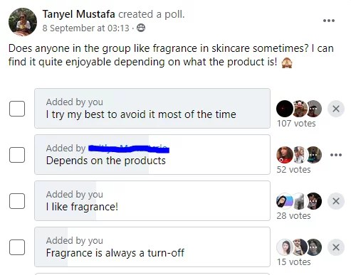Facebook group poll results