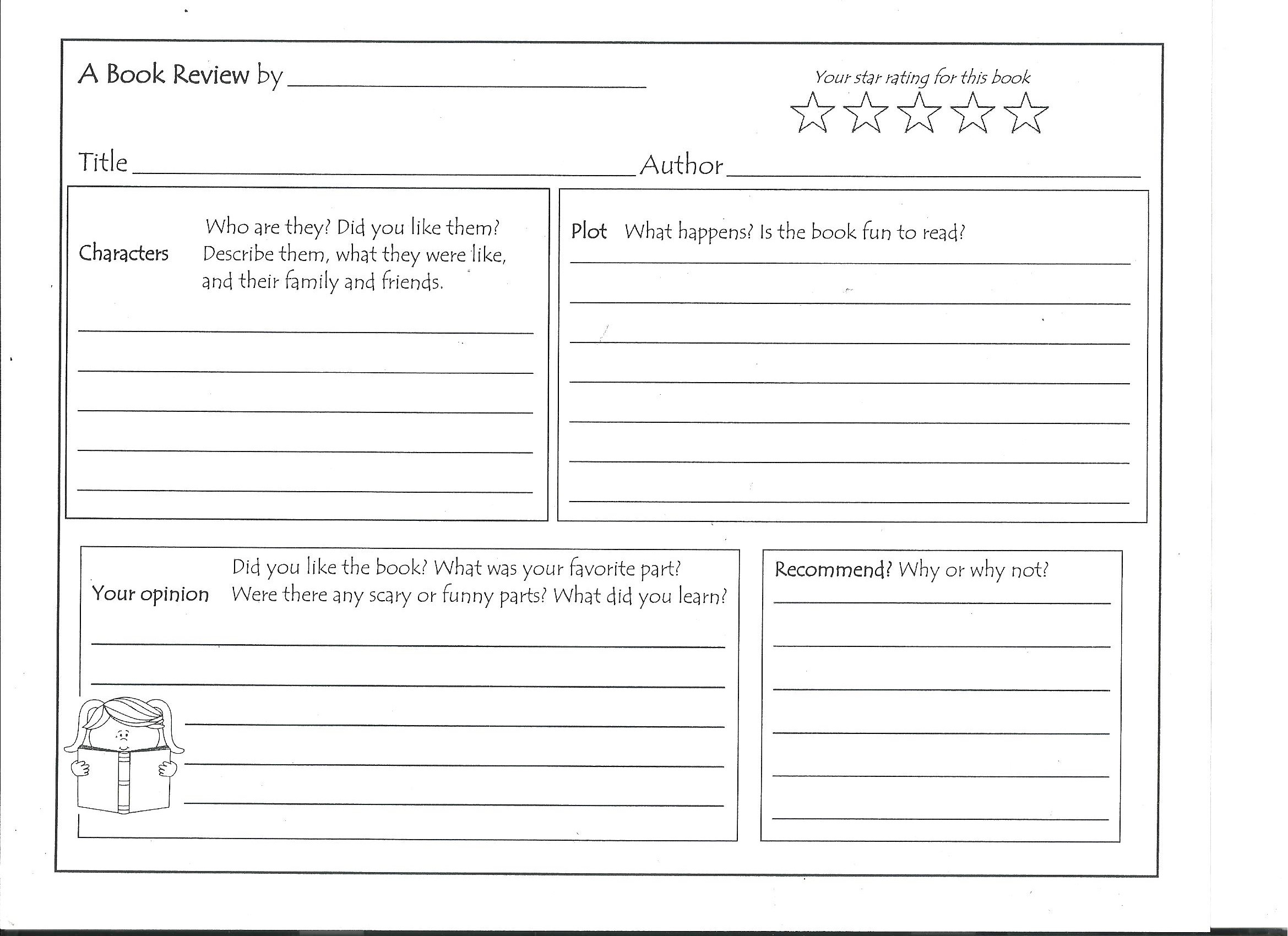Biography Book Report Form Worksheets