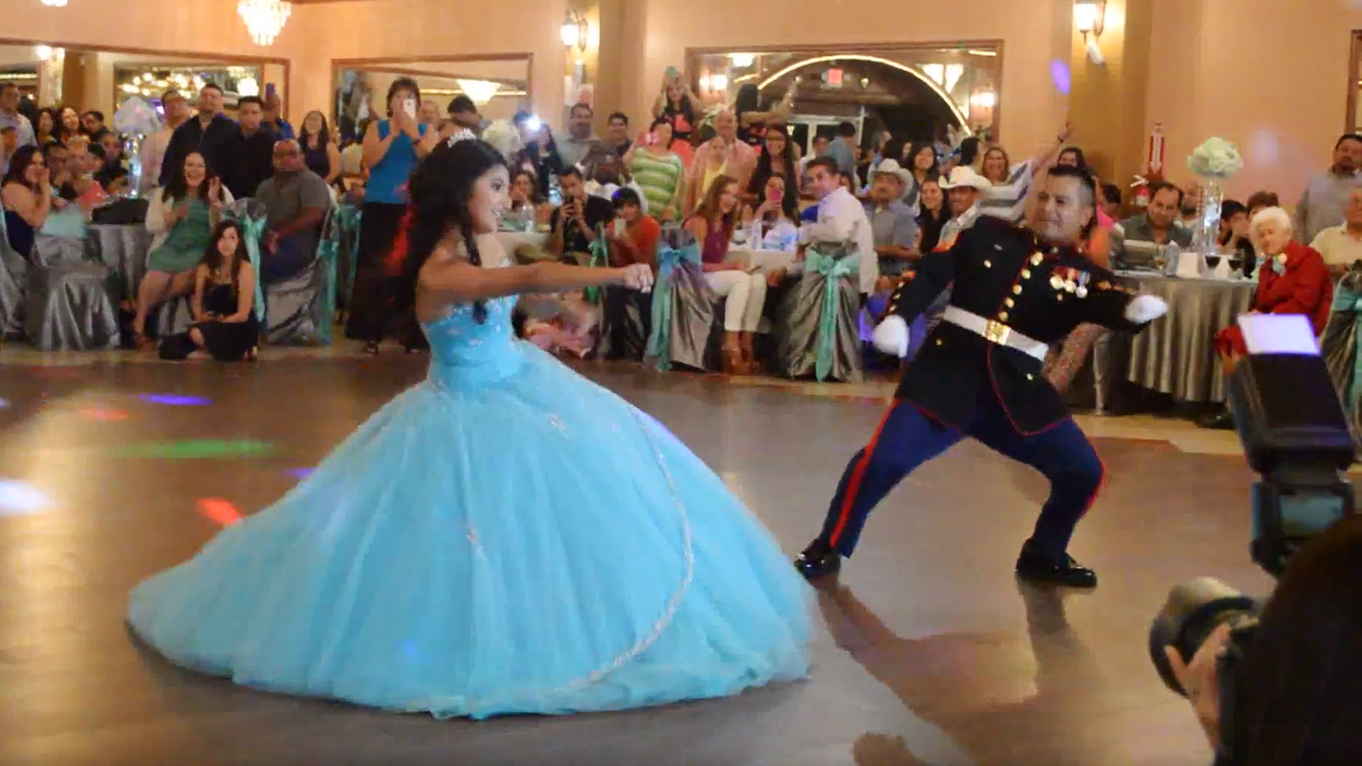 Girls epic dance with dad is highlight of her quinceanera