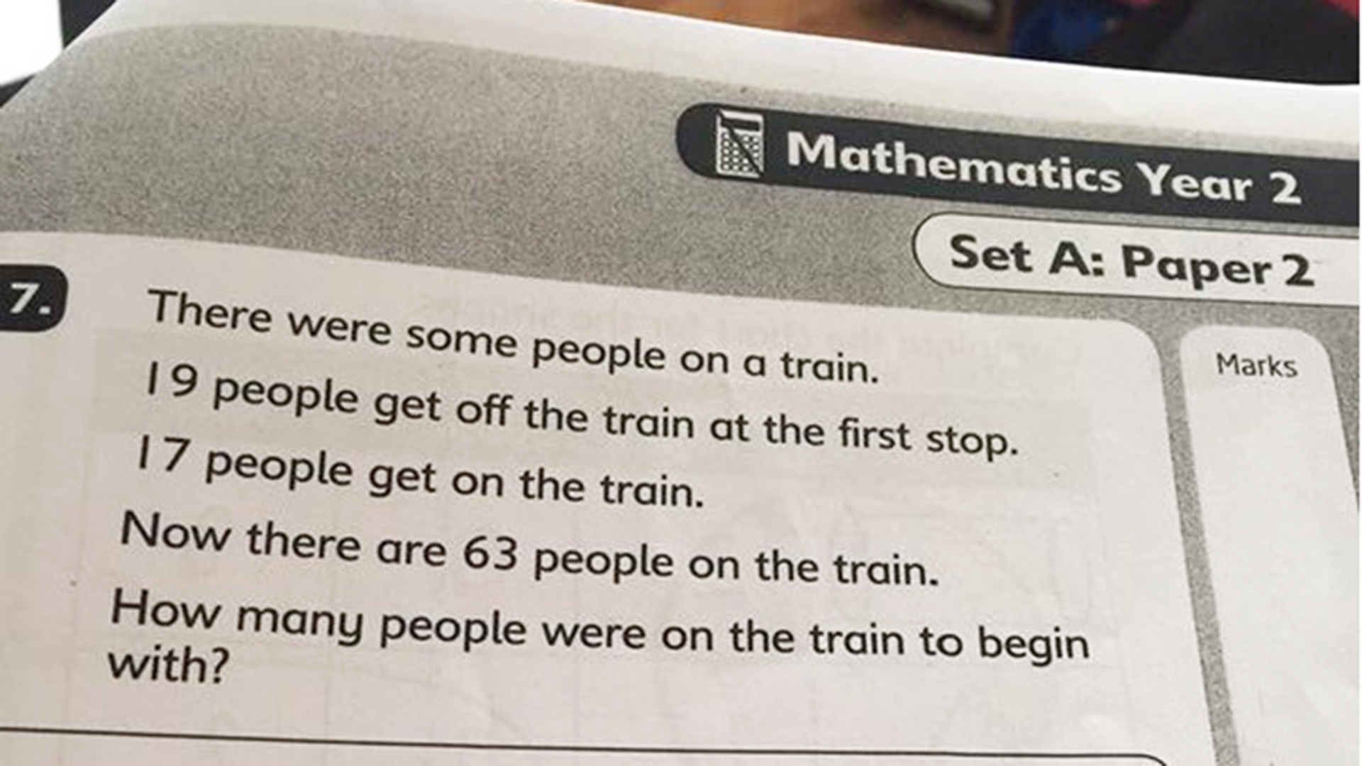 hight resolution of Math problem meant for 7-year-olds puzzles outraged parents