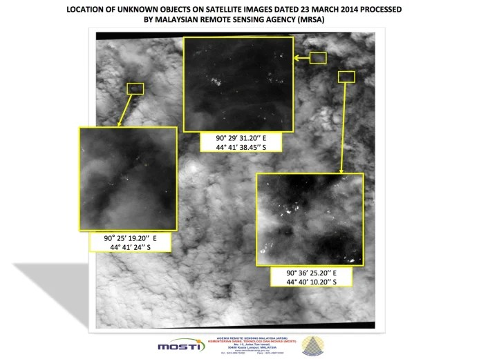 A graphic showing the location of unknown objects on satellite images dated March 23, 2014, processed by the Malaysian Remote Sensing Agency (MRSA) and released by the Malaysian government on March 26.