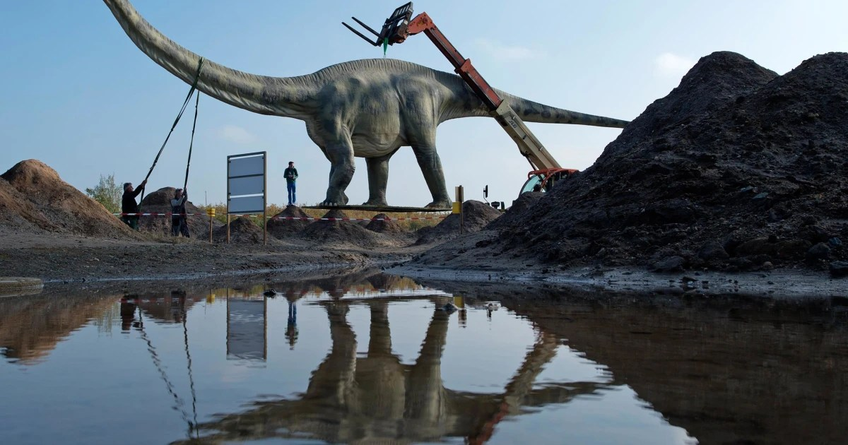 dinosaur statue moved as
