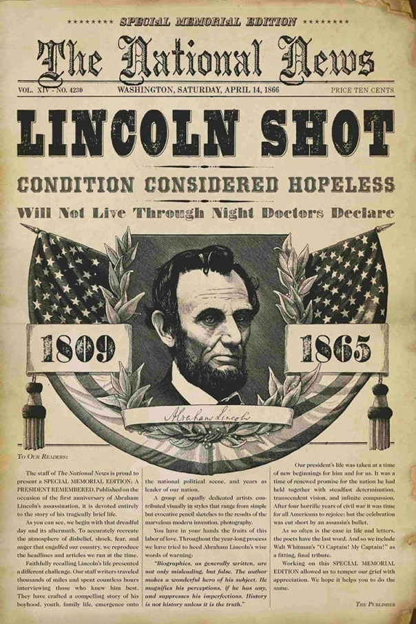 Image result for 1865 - Abraham Lincoln is shot