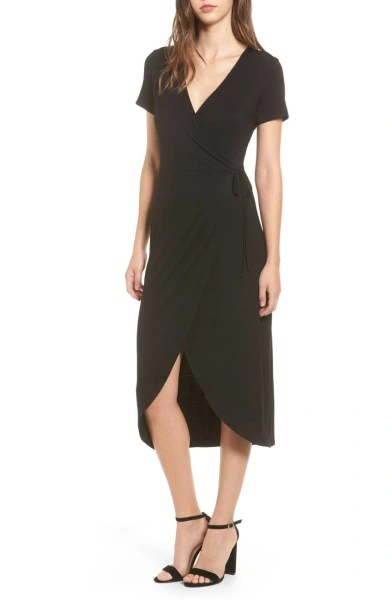 Knit Wrap Midi black dress Nordstrom