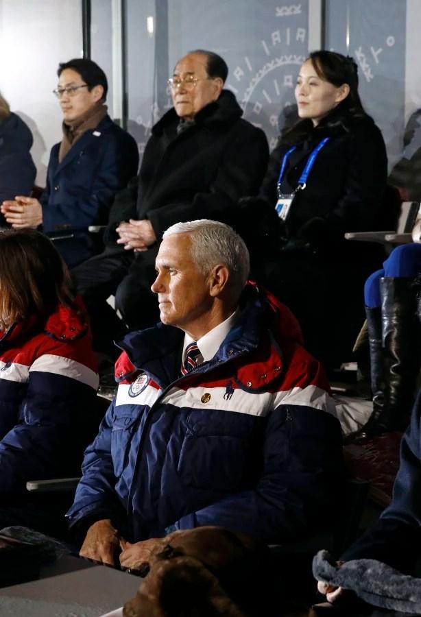 Image: Mike Pence, Kim Yong Nam, Kim Yo Jong