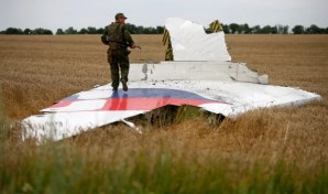 Image: An armed pro-Russian separatist stands on part of the wreckage of MH17 three days after it was brought down in July 2014.
