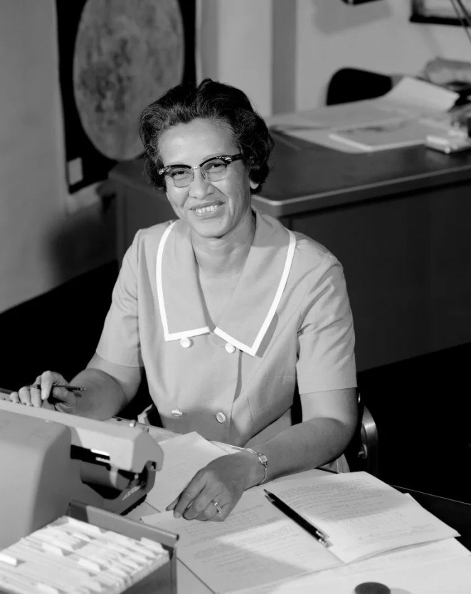 Image: NASA space scientist and mathematician Katherine Johnson at Langley Research Center in Va., in 1966.
