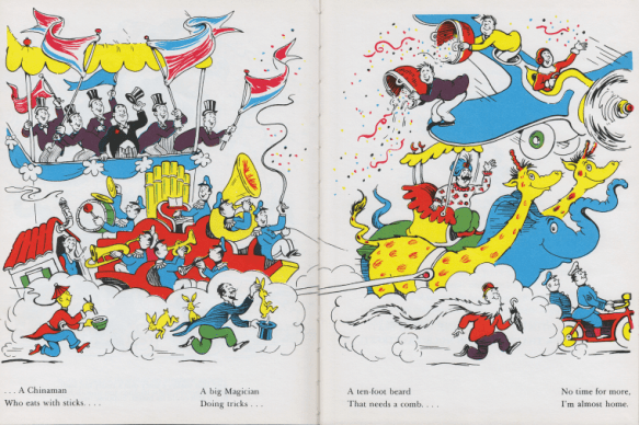 "A spread from Dr. Seuss' 1937 book, ""And to Think That I Saw It on Mulberry Street,"" includes an image of an Asian man with yellow skin, slanted eyes and a pigtail, holding a pair of chopsticks and a bowl of rice over the text, ""A Chinaman who eats with sticks."""