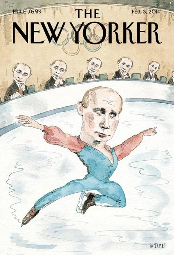 The cover of the Feb. 3 edition of The New Yorker magazine has some fun with Russian president Vladimir Putin in the midst of controversy over Russian anti-gay laws heading into the Winter Olympics in Sochi next week.