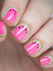 diy summer nail art design colorblocked