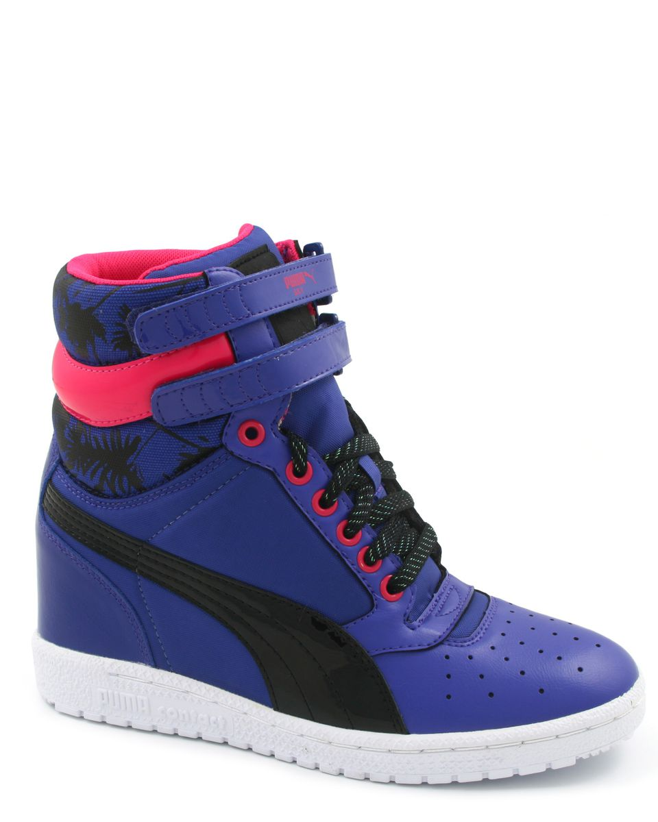 Puma Sky High Sneaker Wedge in Purple and Black with Pink