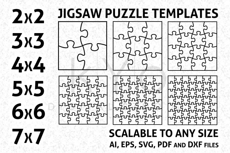 Square Jigsaw Puzzle Templates AI EPS SVG DXF PDF files By